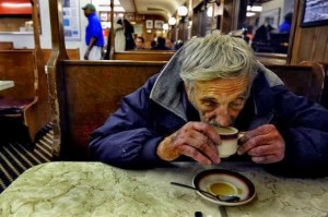 Old man and his coffee