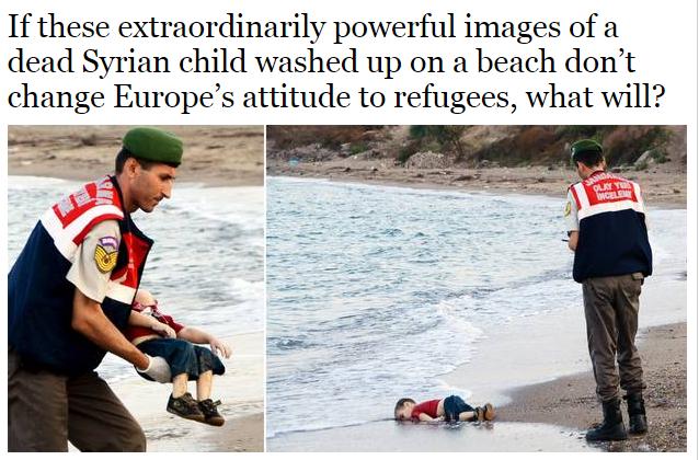 紅衣藍褲小男孩俯臥沙灘的畫面,如閃電般席捲社群媒體,系列照片以「#人命沖上岸」(#KiyiyaVuranInsanlik)為主題標籤。(圖取自英國獨立報網頁www.independent.co.uk)